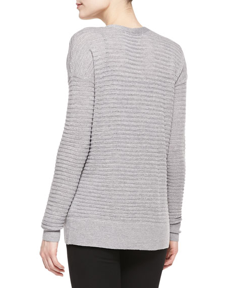 Perforated Wool Cardigan, Gray