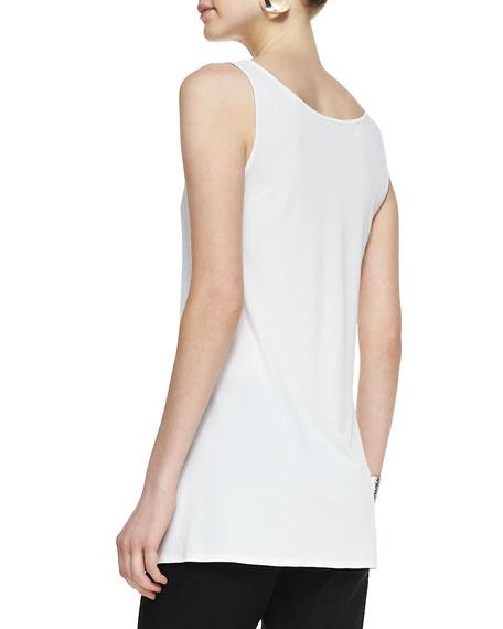Long Silk Jersey Tunic, Soft White, Petite