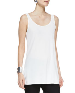 Eileen Fisher Long Silk Jersey Tunic, Soft White, Petite