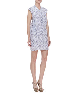 Theyskens' Theory Printed Zip-Front Sleeveless Dress, Blue-White