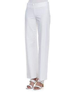 Eileen Fisher Stretch Crepe Modern Wide-Leg Pants, White, Petite