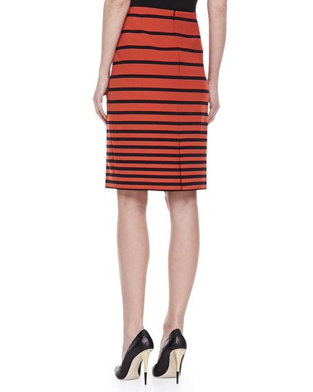 Striped Knit Pencil Skirt, Orange/Navy