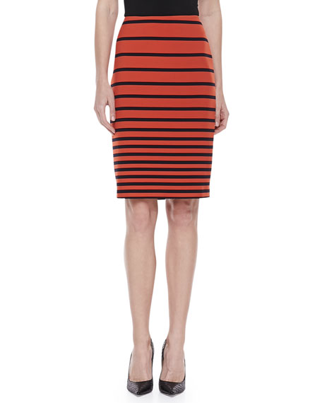 Striped Knit Pencil Skirt, Orange/Navy
