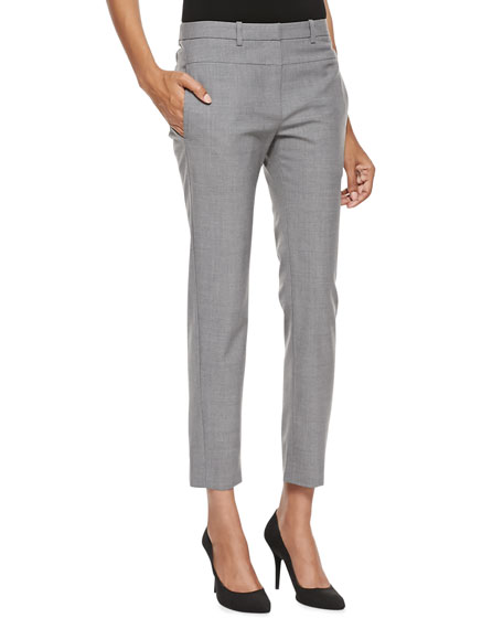 Skinny Tailored Ankle Pants, Heather Gray