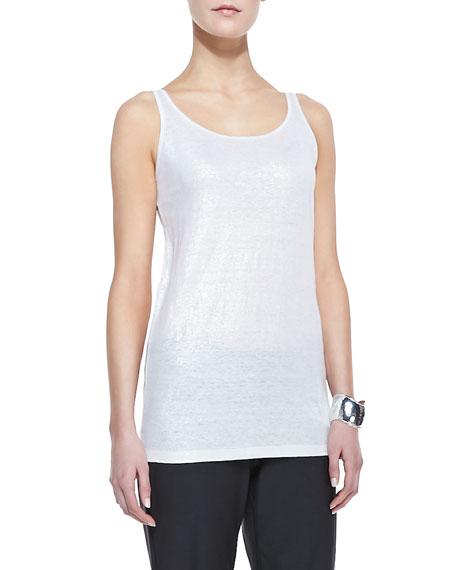 Organic Linen Jersey Shimmer Tank, Silver