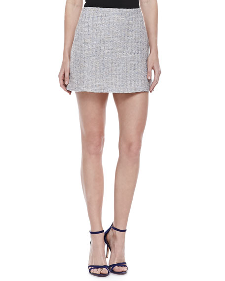Tweed Miniskirt, Gray/Multicolor