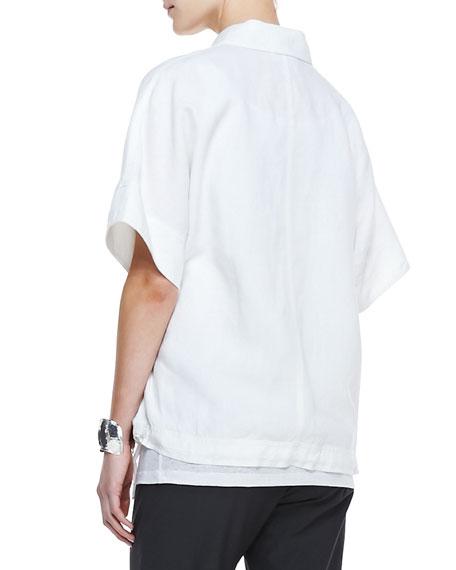 Organic Linen Short-Sleeve Jacket, White