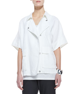 Eileen Fisher Organic Linen Short-Sleeve Jacket, White