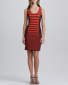 Halston Heritage Sleeveless Striped Tank Dress