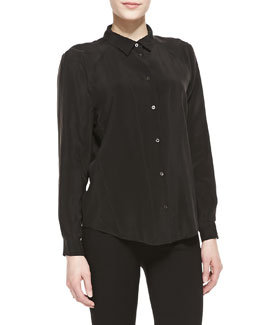 Theyskens' Theory Fietra Long-Sleeve Blouse, Black
