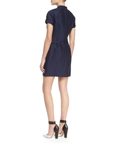 Short-Sleeve Snap-Front Dress, Midnight