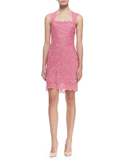 Nicole Miller Sleeveless Square-Neck Lace Cocktail Dress, Pink