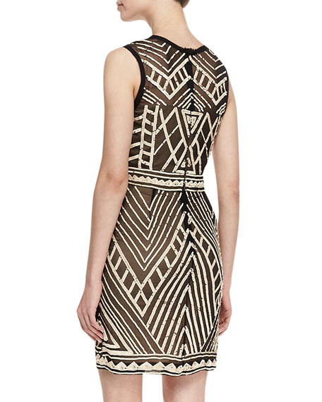 Sleeveless Maze Pattern Cocktail Dress, Black/Nude
