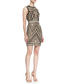Nicole Miller Sleeveless Maze Pattern Cocktail Dress, Black/Nude