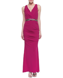 Nicole Miller Sleeveless Ruched Hip Gown with Belt, Pink Berry