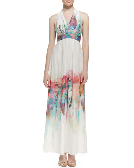 Silk Watercolor Floral-Print Halter Gown