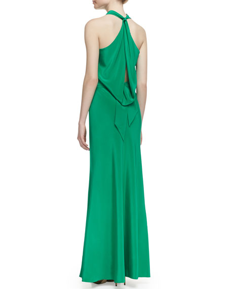 Silk Jersey Bow-Back Halter Gown, New Pacific Green