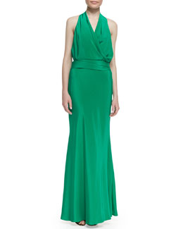 Nicole Miller Silk Jersey Bow-Back Halter Gown, New Pacific Green