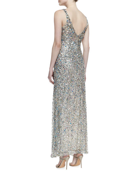 Sleeveless V-Neck Sequined Gown, Khaki/Multicolor