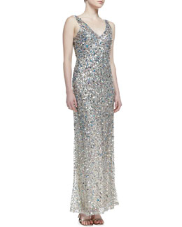 Nicole Miller Sleeveless V-Neck Sequined Gown, Khaki/Multicolor