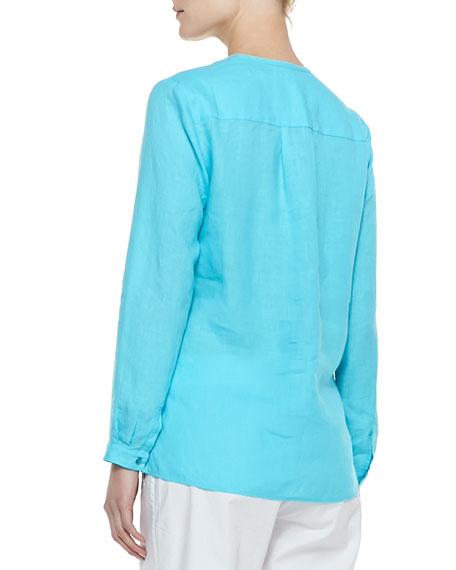 Handkerchief Linen V-Neck Shirt, Women's
