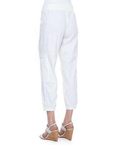 Cargo Linen-Blend Ankle Pants, White, Petite