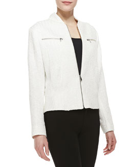 Theyskens' Theory Tweed Zip-Front Jacket, White