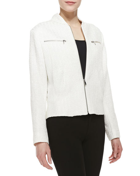Tweed Zip-Front Jacket, White