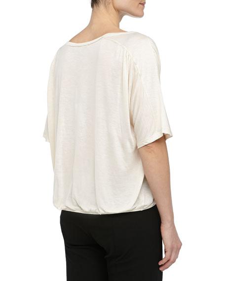 Short-Sleeve Bubble Jersey Top, Bone