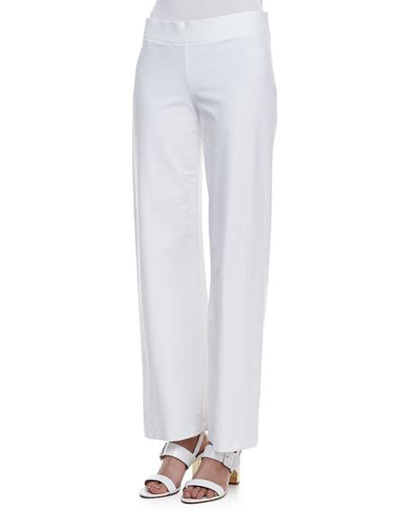 Stretch Crepe Modern Wide-Leg Pants, White