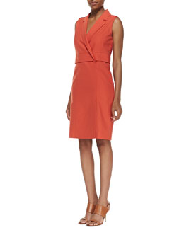 Halston Heritage Sleeveless Tailored Dress, Dark Fire