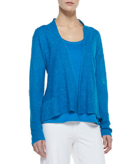 Eileen Fisher Organic Slub-Knit Cardigan, Atlantis