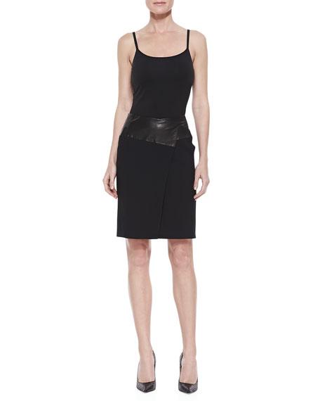 Leather-Waist Pencil Skirt