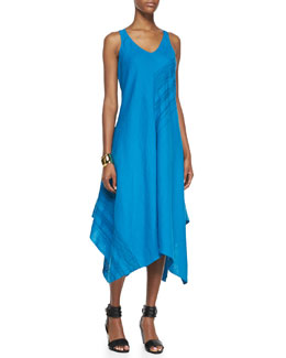 Eileen Fisher Sleeveless V-Neck Asymmetric Linen Dress, Petite