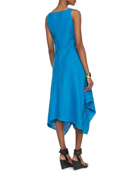 Sleeveless V-Neck Asymmetric Linen Dress, Women's