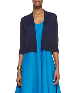 Eileen Fisher 3/4-Sleeve Cropped Cardigan, Midnight, Women's
