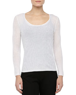 Theyskens' Theory Knit Long-Sleeve Scoop-Neck Sweater, Ivory