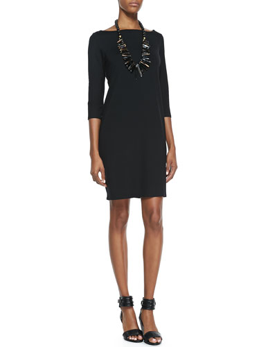 Eileen Fisher Washable 3/4-Sleeve Short Jersey Dress, Petite