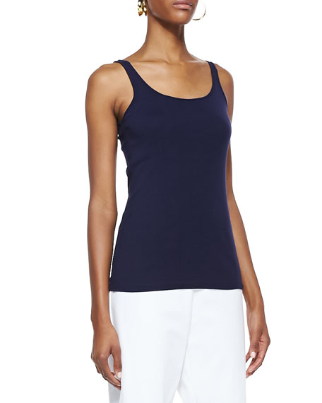 Organic-Cotton Long Slim Tank, Midnight, Petite