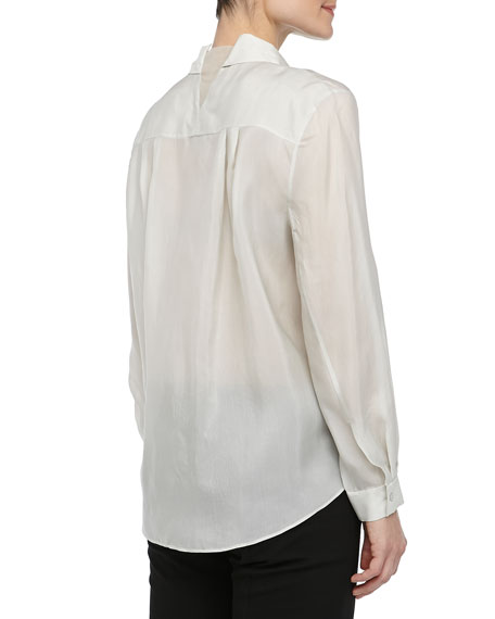 Long-Sleeve Silk Button-Down Blouse