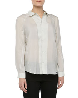 Theyskens' Theory Long-Sleeve Silk Button-Down Blouse