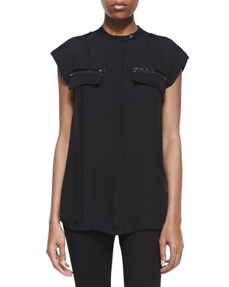 Silk Button-Front Top, Black