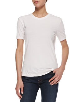 Theyskens' Theory Short-Sleeve Soft Washed Tee, Eggshell