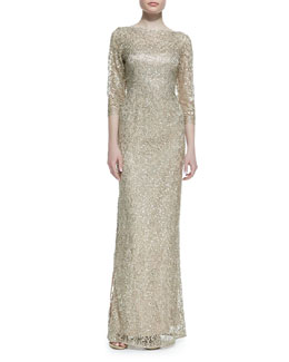 Kay Unger New York 3/4-Sleeves Sequin Lace Overlay Gown, Rose Gold