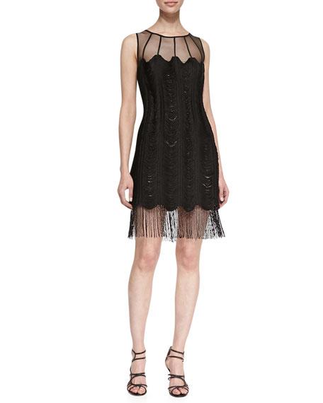 Sleeveless Mesh-Top Fringe-Hem Cocktail Dress, Black