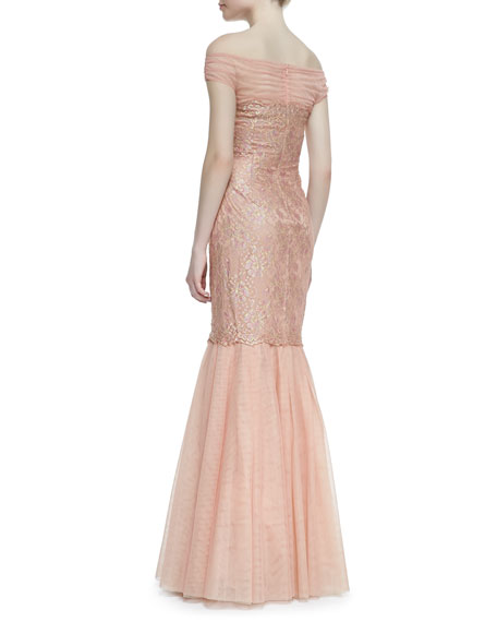 Off-Shoulder Lace Body Mermaid Gown, Coral