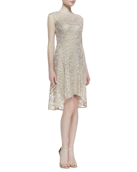 Cap-Sleeve Metallic Lace High-Low Cocktail Dress, Rose/Gold