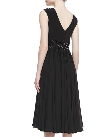 Cap-Sleeve Beaded-Waist Tea-Length Cocktail Dress, Black