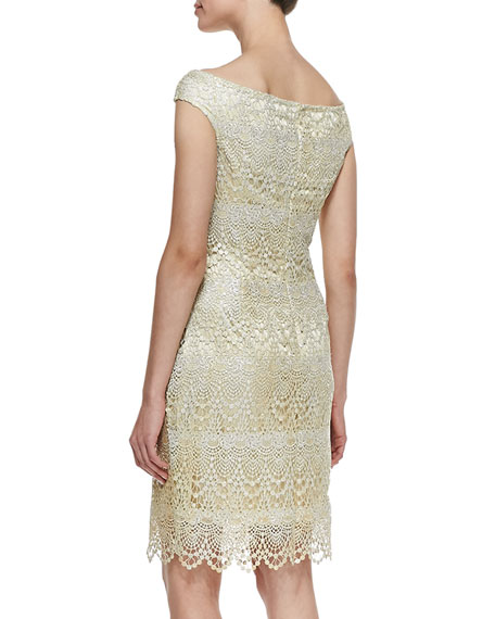 Off-Shoulder Lace Cocktail Dress, Butter
