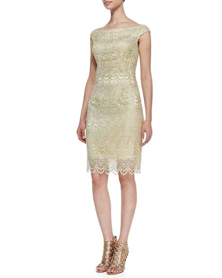 Off-Shoulder Lace Cocktail Dress, Butter